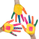 Colorful hands, children fun and leisure concept Stock Images