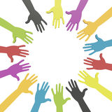 Colorful hands in a circle with clipping path Stock Photos
