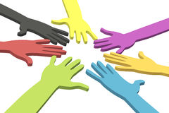 Colorful hands in a circle with clipping path Royalty Free Stock Images