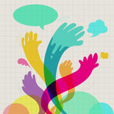 Colorful hands communication Royalty Free Stock Photography