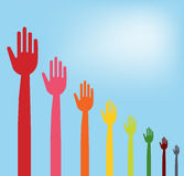 Colorful hands descending graph Stock Photo