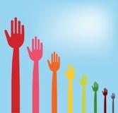 Colorful hands descending graph Stock Photo