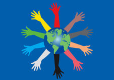 Colorful hands and the Earth. Many colorful hands reaching from the World Earth globe Stock Photography