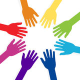 Colorful hands forming shape teamwork Royalty Free Stock Photo