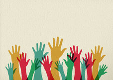 Colorful hands illustration teamwork concept. Diversity people group raising hands, colorful diverse teamwork collaboration concept illustration on texture Stock Image