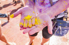 Colorful hands in the indian festival Holi Royalty Free Stock Images