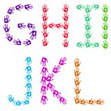 Colorful hands - isolated letters made of handprints. English alphabetic letters designed from colorful hand prints. Letters G-L with two variations in letter I Royalty Free Stock Photography
