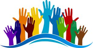 Colorful hands logo Stock Photos