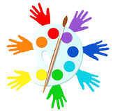 Colorful hands with paints and easel Royalty Free Stock Photography