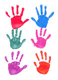 Colorful hands prints. Colorful prints of the hands isolated on white stock illustration