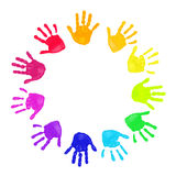 Colorful hands prints. Set of colorful hand prints in rainbow order isolated on white background Royalty Free Illustration