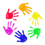 Colorful hands prints. Set of colorful hand prints in rainbow order isolated on white background stock photography