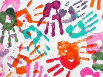 Colorful hands prints Stock Photo