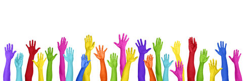 Colorful Hands Raised On White Background Royalty Free Stock Photography