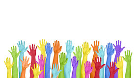 Colorful Hands Raised On White Background Stock Image