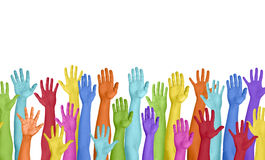 Colorful Hands Raised On White Background Royalty Free Stock Images
