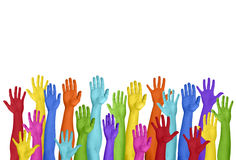 Colorful Hands Raised On White Background Stock Images