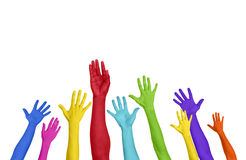 Colorful Hands Raised On White Background Stock Photos