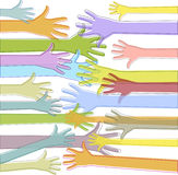 Colorful hands reach out Stock Photo