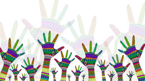 Colorful hands reaching up. Illustration in detail Royalty Free Stock Photography