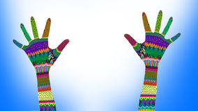 Colorful hands reaching up Royalty Free Stock Images