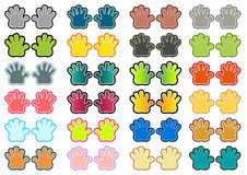 Colorful hands set. Set of 24 isolated pair of hands in different colors Royalty Free Stock Image