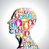 Colorful hands with shape of human head Stock Photos