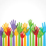 Colorful hands show the unity. Stock vector Stock Photography