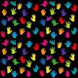 Colorful hands on black background Royalty Free Stock Images