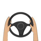 Colorful hands with steering wheel. Vector illustration Royalty Free Stock Images