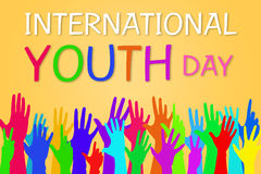 Colorful hands up International Youth Day Banner Graphic Design. Colorful hands up - International Youth Day Banner Graphic Design Stock Photography