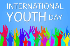 Colorful hands up - International Youth Day Banner stock illustration