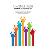 Colorful Hands. Vector illustration of various colorful raising hands copyspace design element Royalty Free Stock Image