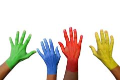 Colorful hands waving Stock Photo