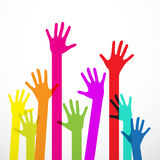 Colorful Hands. On White Background Stock Photo