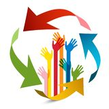 Colorful Hands wit Arrows Vector Design. Isolated royalty free illustration