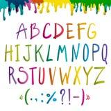 Colorful  handwritten alphabet Stock Photos