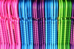 Colorful hangers royalty free stock photos