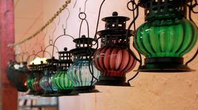 Colorful hanging arabic glass lamp Stock Images