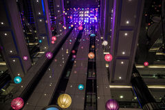 Colorful hanging Balls Inside Big Mall Royalty Free Stock Photography