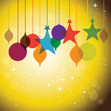 Colorful hanging baubles on orange yellow background - vector Royalty Free Stock Images