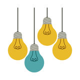 Colorful hanging bulbs with filaments illuminated. Illustration Royalty Free Stock Photos