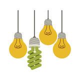 Colorful hanging bulbs with filaments. Illustration  illustration Stock Image