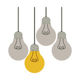 Colorful hanging bulbs with filaments off. Illustration Royalty Free Stock Image