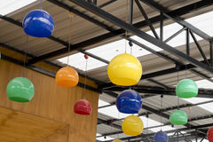 The colorful hanging ceramic lamp for decoration Royalty Free Stock Photography
