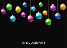 Colorful  hanging Christmas balls. Royalty Free Stock Photo