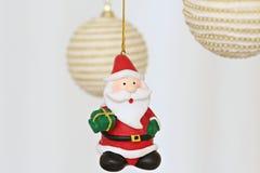 Colorful hanging christmas decorations santa Royalty Free Stock Photography