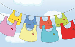 Colorful hanging clothes Stock Photos
