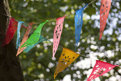 Colorful hanging decorations. In a forest stock photography