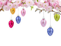 Colorful hanging easter eggs Royalty Free Stock Image